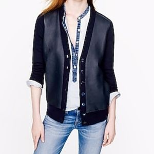 J.CREW Collection leather-front merino cardigan